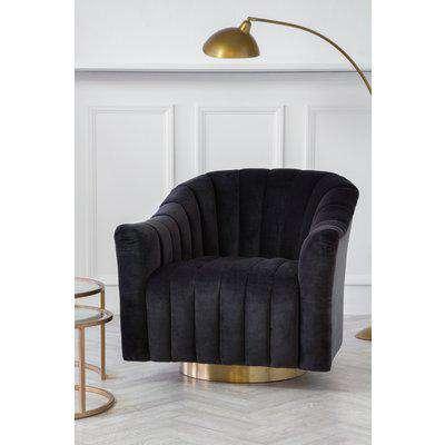 Rockett St George Ribbed Charcoal Velvet Tub Armchair