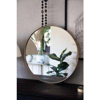Round Gold Framed Wall Mirror - Medium