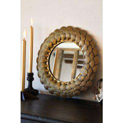 Round Mirror With Antique Gold Shell Layers