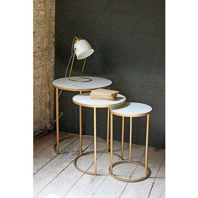 Rockett St George Round Nest of 3 Marble Side Tables - RSG2015