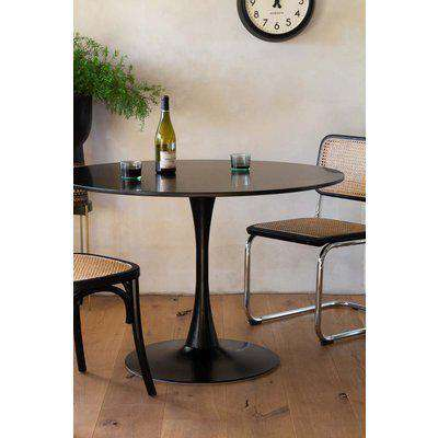 70's Inspired Black Round Dining Table