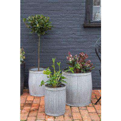 Set Of 3 Galvanised Garden Planters
