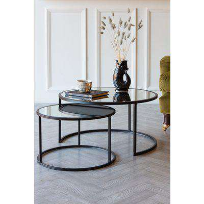 Set Of 2 Black & Mirrored Nest Of Side Tables / Coffee Tables