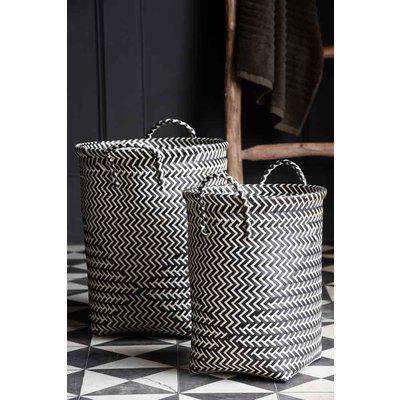 Set Of 2 Black & White Woven Laundry Baskets