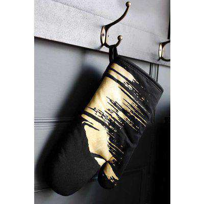 Black Single Oven Glove With Gold Flash