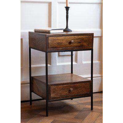 Split Level 2-Drawer Mango Wood Bedside Table