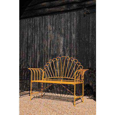 Sunflower Yellow Metal Garden Bench