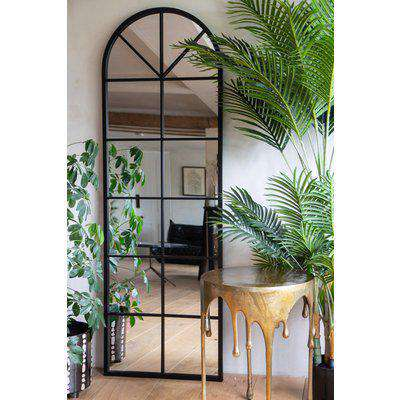 Tall Arched Windowpane Mirror Suitable For Outdoors