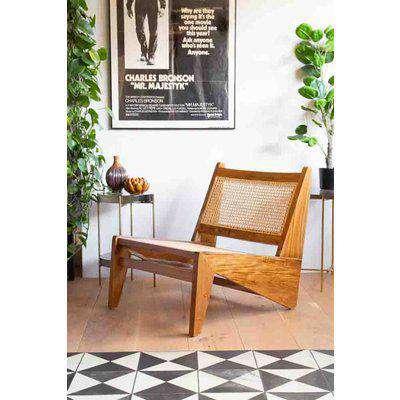Teak Wood & Woven Cane Lounge Chair