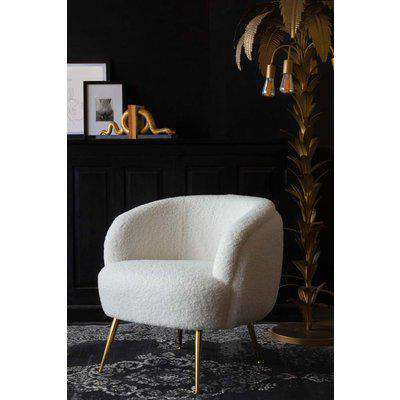 White Teddy Armchair With Gold Legs