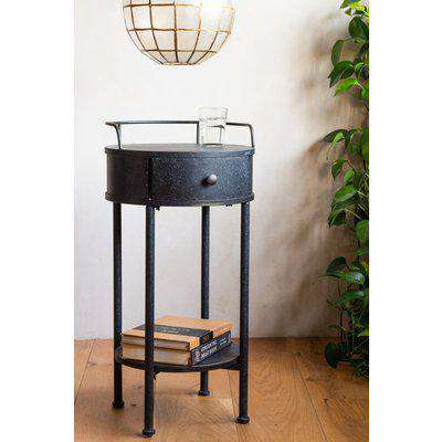 Traditional Black Paint Effect Metal Side Table / Bedside Table