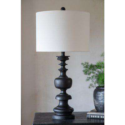 Black Turned Wood Table Lamp With Linen Lamp Shade