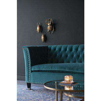 Teal Velvet Chesterfield 3 Seater Sofa With Stud Detail