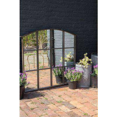 Windowpane Indoor/Outdoor Mirror With Sloping Top