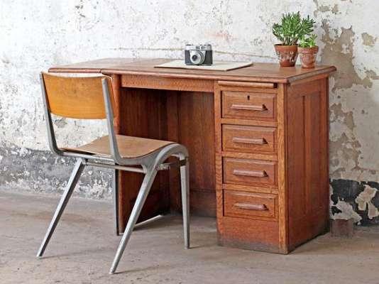 Antique Oak Desk Brown