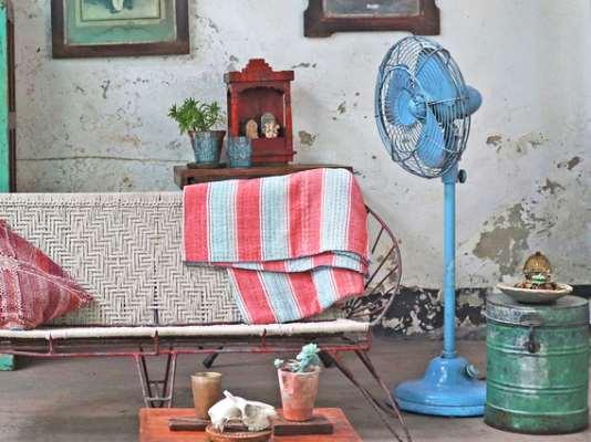 Decorative Old Indian Fan Blue