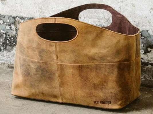 Leather Log & Magazine Basket