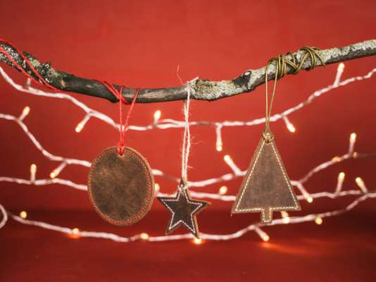 Set of 3 Leather Christmas Decorations