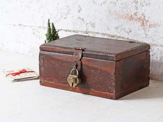 Small Wooden Trinket Box  Small