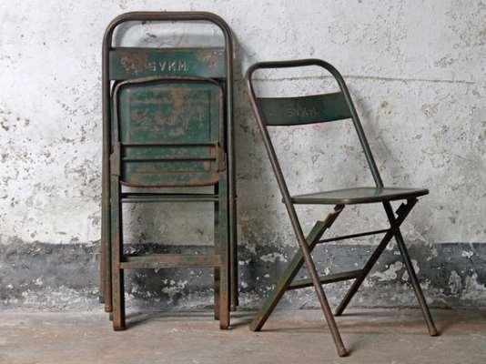 Vintage Metal Folding Chair - Green  Medium