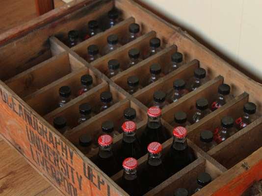 Vintage University Display Crate and Bottles Brown Medium