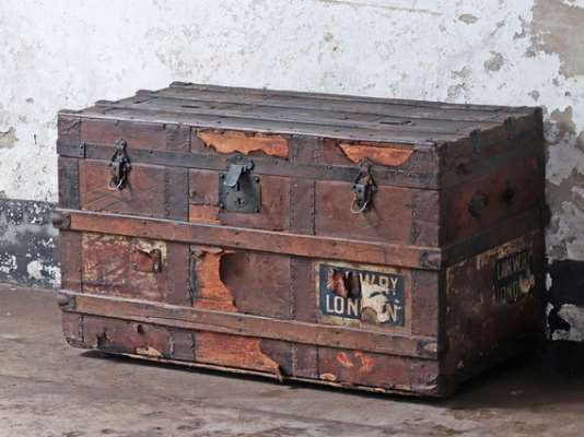 Vintage Wood and Leather Trunk Brown