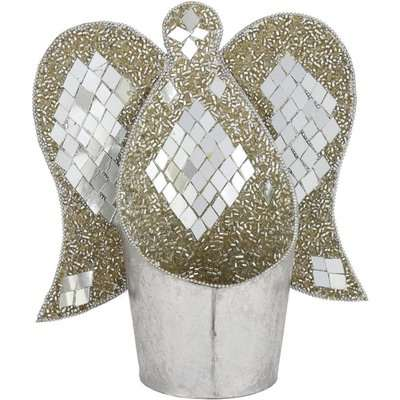 Deco Home 18cm Metal And Marcella Angel Tealight Holder Silver Grey / Grey