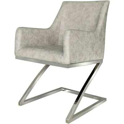 Deco Home Alexa Dining Arm Chair Chrome And Light Grey PU / Chrome