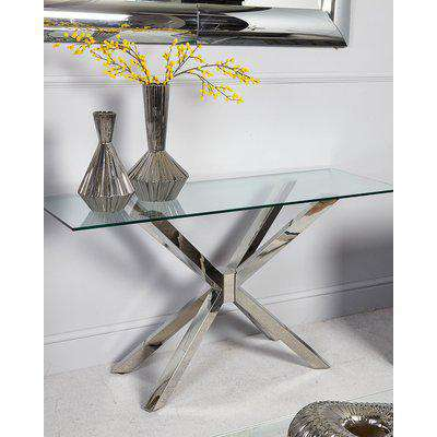 Deco Home Debonaire Glass And Chrome Console Table Dressing Table