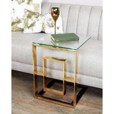 Deco Home Plaza Gold Contemporary Clear Glass Sofa Table Side End Display Table