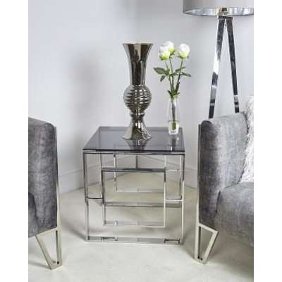 Deco Home Plaza Contemporary Stainless Steel Smoked Glass Side Table