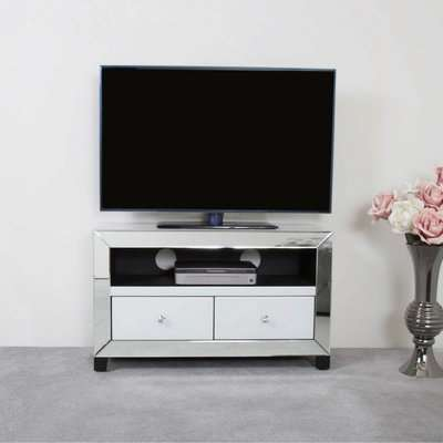 Deco Home Arctic White Mirrored Glass TV Stand Entertainment Unit Cabinet