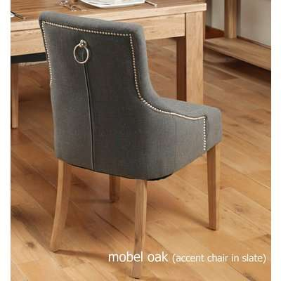 Baumhaus Oak Accent Upholstered Dining Chair - Slate (Pack Of Two)