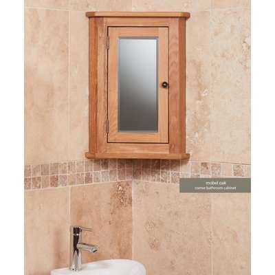 Baumhaus Solid Oak Mirrored Corner Wall Cabinet