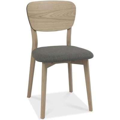 Bentley Dansk Cold Steel Fabric Veneer Back Scandi Oak Dining Chairs
