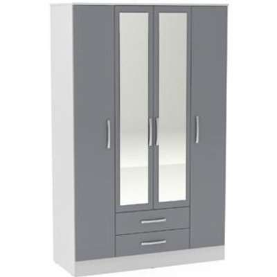 Birlea Lynx 4 Door 2 Drawer W/mirror White & Grey