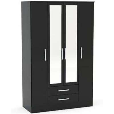 Birlea Lynx 4 Door 2 Drawer Wardrobe With Mirror Black