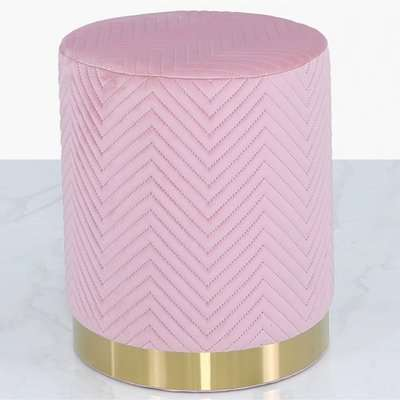 Deco Home Blush Pink Patterned Velvet And Gold Metal Round Footstool Ottoman / Gold