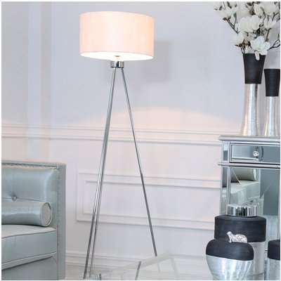 Deco Home Large 159cm Chrome Tripod Floor Lamp With White Cotton Shade