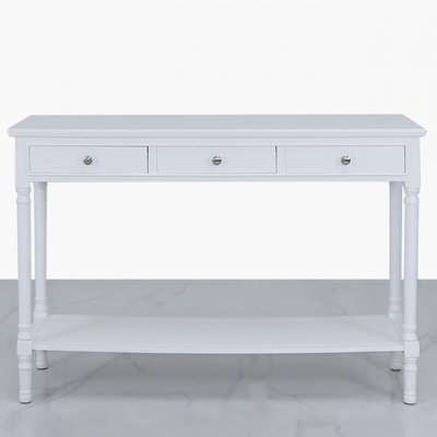 Deco Home Arabella White Wood Large 3 Drawer Console Table Hallway Table