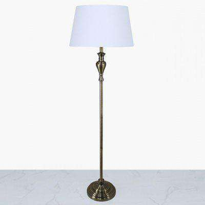 Deco Home Antique Brass Sandringham Floor Lamp With White Empire Shade
