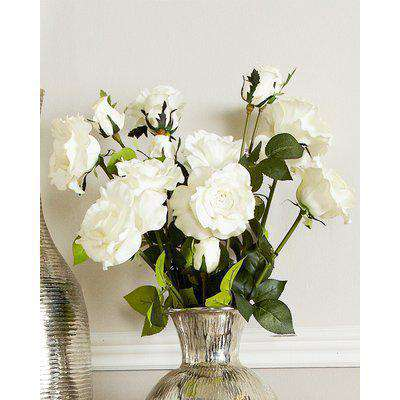 Deco Home White Real Touch Single Stem Peony Rose