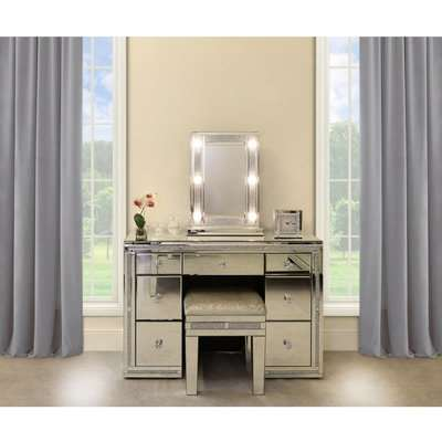 Deco Home Diamond Glitz Dressing Table Mirror With 9 Dimmable LED Light Bulbs