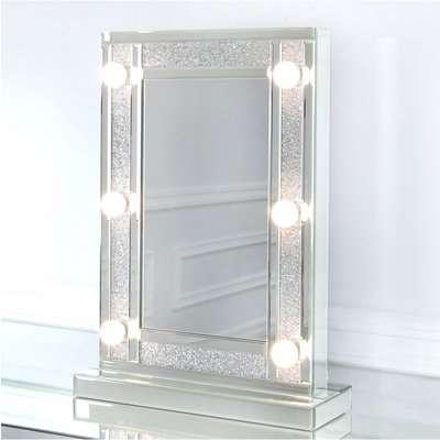 Deco Home Diamond Glitz Hollywood Dressing Table Mirror With 6 LED Light Bulbs
