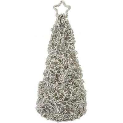 Deco Home Grey & Cream Beaded Table Top Christmas Tree / Cream