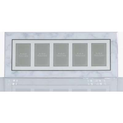 Deco Home Grey Marble 5 Aperture Horizontal Photo Frame (4inx6in)