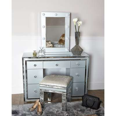 Deco Home Madison Grey Vanity Mirrored Mirror With 9 Dimmable LED Light Bulbs