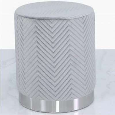 Deco Home Grey Patterned Velvet And Chrome Round Footstool Stool Ottoman / Chrome