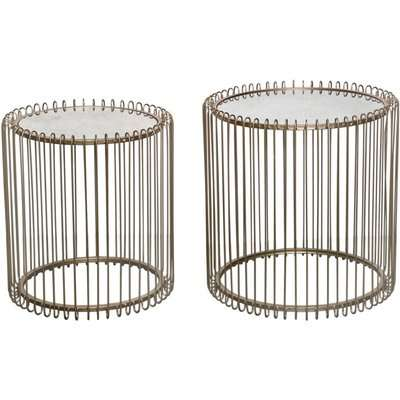 Deco Home Harriet Gold Metal Nest Of 2 End Tables With Antique Mirror Top