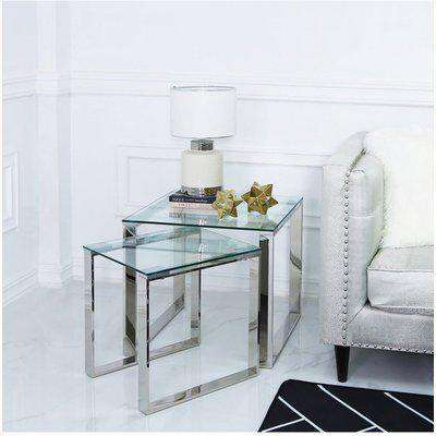 Deco Home Harper Nest Of 2 Stainless Steel And Clear Glass Tables